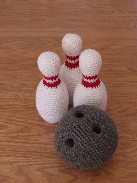 Crocheted bowling ball and bowling pins. Fun!