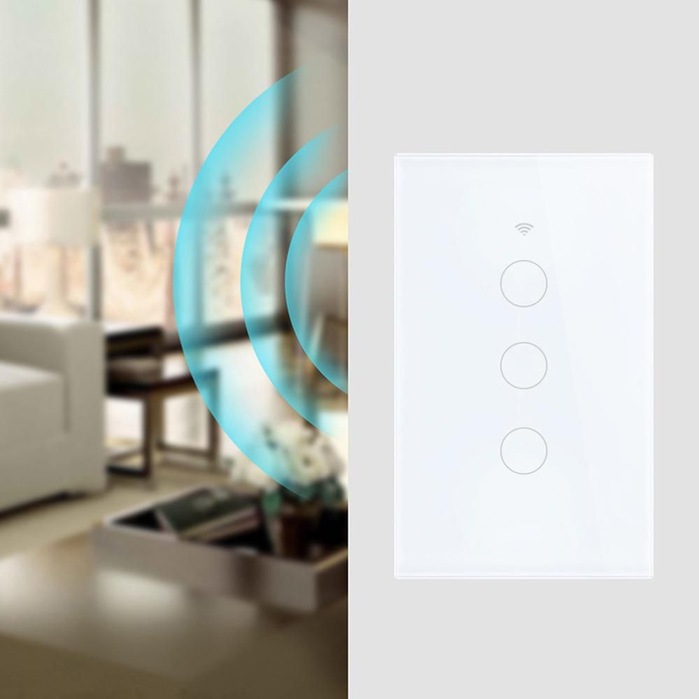 Wifi Smart Light Switch Glass Screen Touch Panel Voice Control Wireless Wall Switch work with Alexa Echo Google Home 1/2/3-Gang #touchpanel