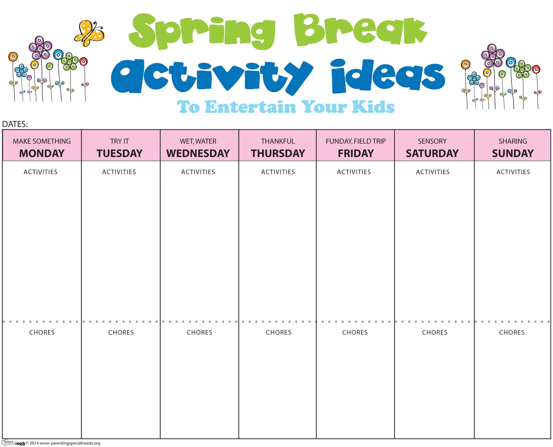 Spring Break Activity Idea Form