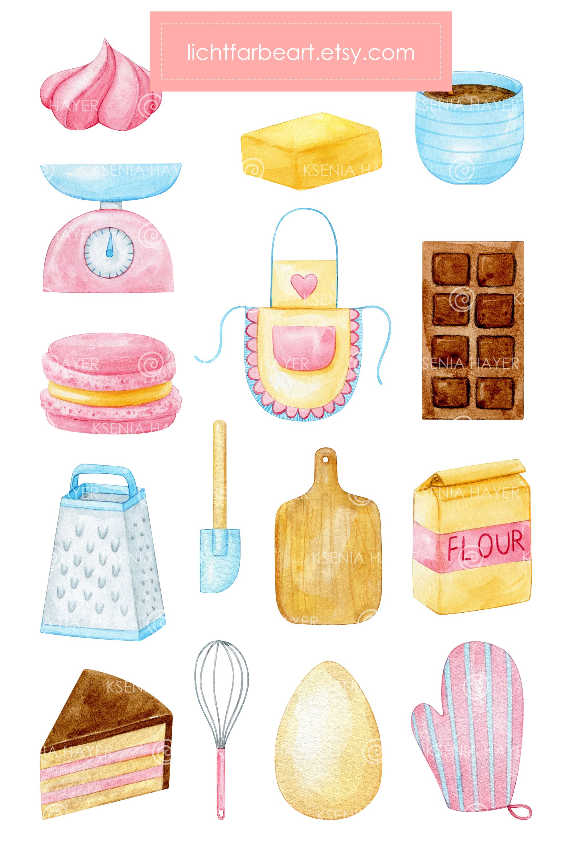 Baking clipart set of different kitchen equipment. Pastry ... (2000 x 3000 Pixel)