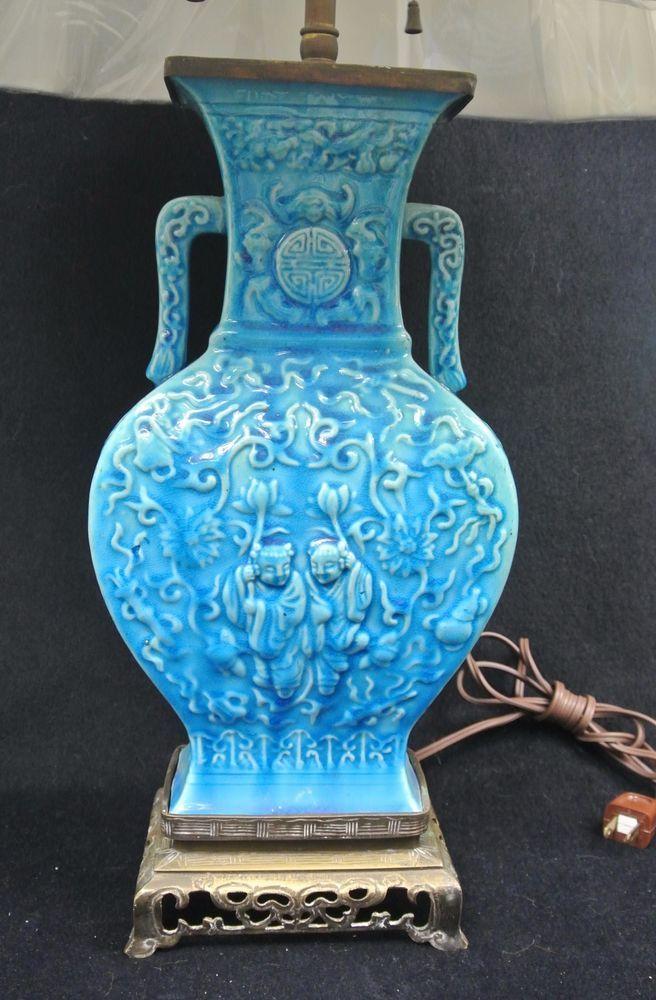 Antique 1920s Chinese Vase Lamp Blue Turquoise Ceramic W Shade
