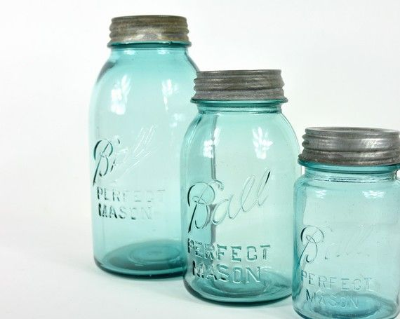 Vintage Mason Ball Jars Glass Storage Jars Turquoise Jar