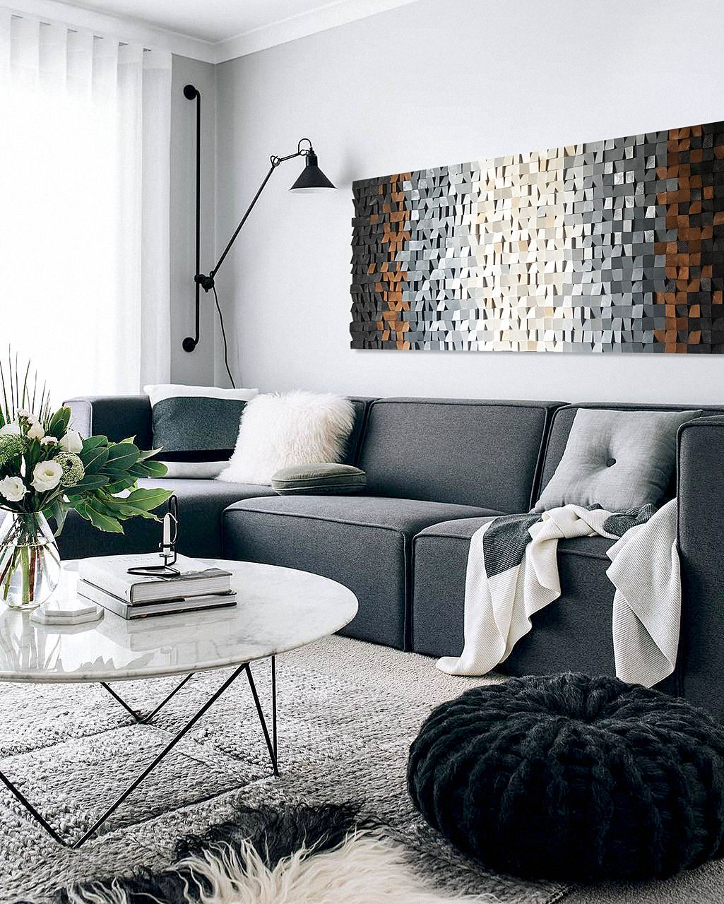 Scandinavian Wood Wall Art Homey Modern Wood Wall Sculpture Abstract Wood Painting In Gray White Brown Natural 3d Wall Art In 2020 Monochrome Living Room Living Room Designs Apartment Living Room