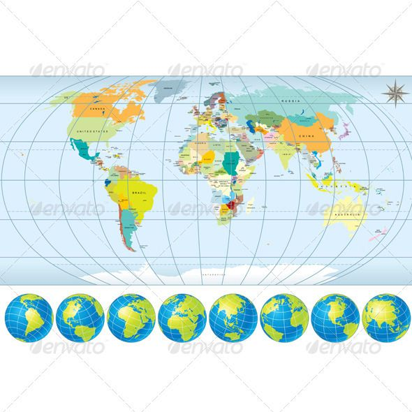 Detailed World Map with Globes Globe, Font logo and Fonts - new world map blank with countries border
