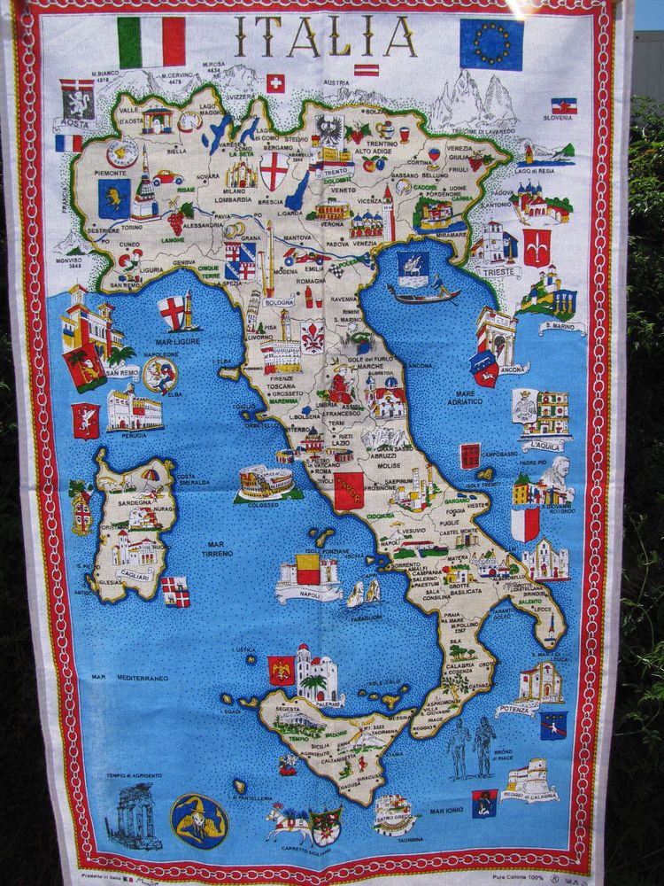 Souvenir Tea Towel Map Of Italy Sicily Landmarks Cities Towns
