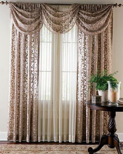 White Curtains With Different Color Sheers