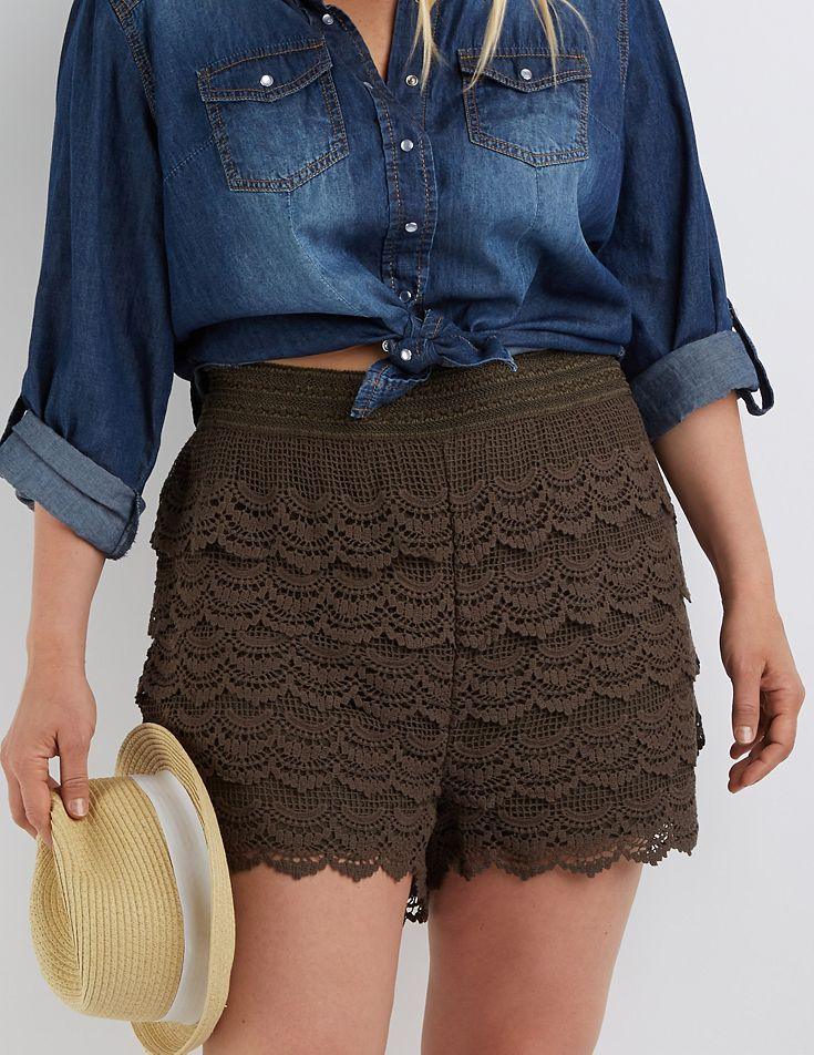 Plus Size Green Tiered Crochet Shorts by Charlotte Russe