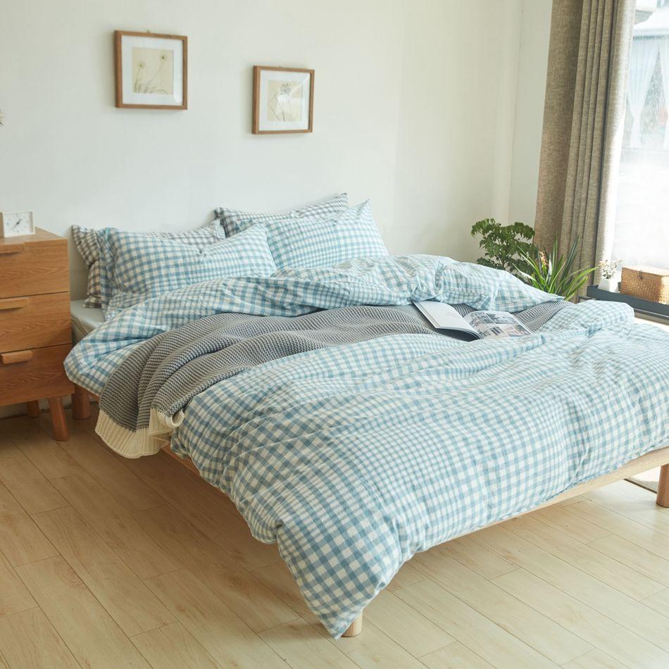 Light blue plaid duvet cover set queen king size bedding