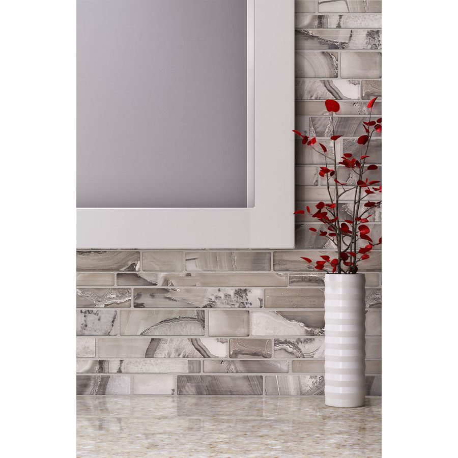 Elida Ceramica Volcanic Beige Silver Gl Mosaic Linear Indoor Only Thinset Mortar Wall Tile