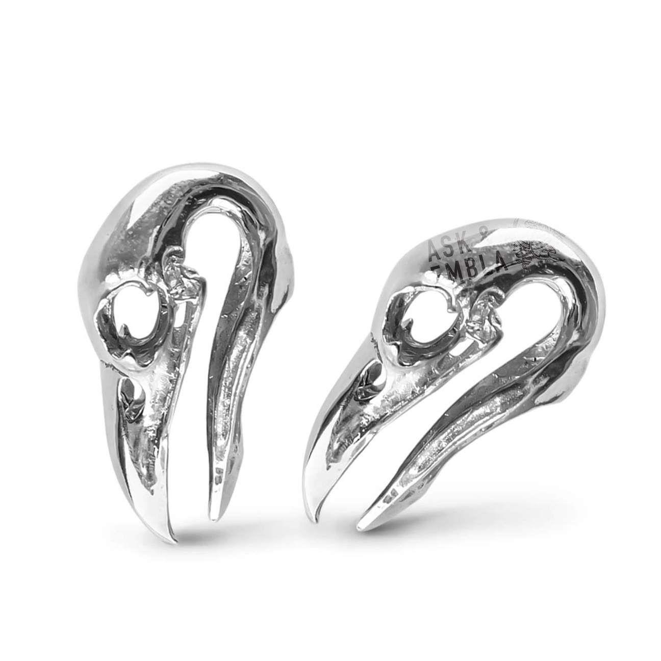 Daxon raven skull hangers in white brass pair white