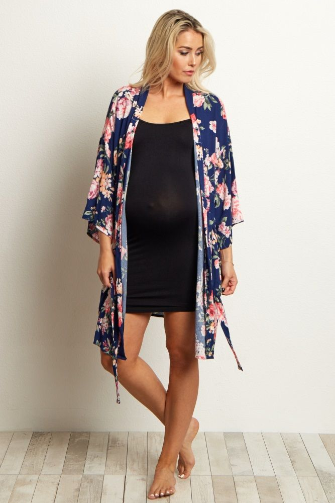6e21dc3aa0c Navy Blue Floral Delivery Nursing Maternity Robe