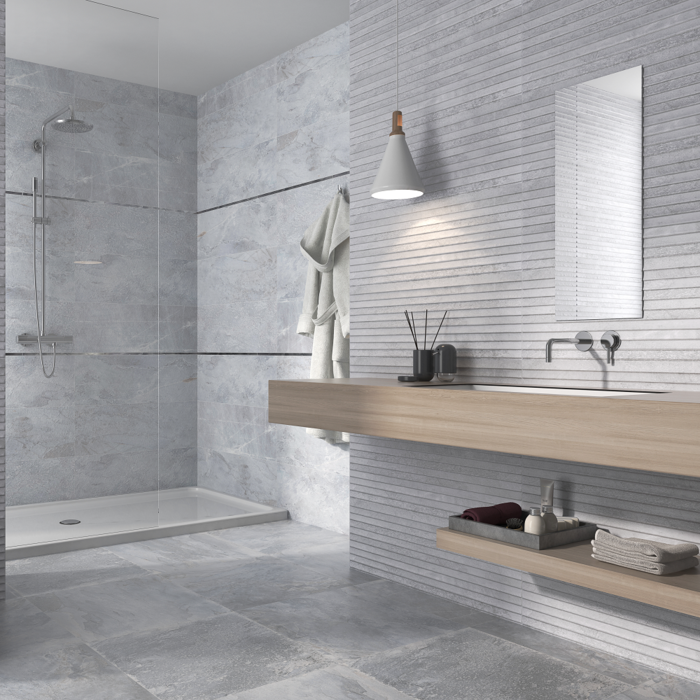 Bathroom Tiles Light Grey Wooden Elements Decorative - Bilder Badezimmer Fliesen