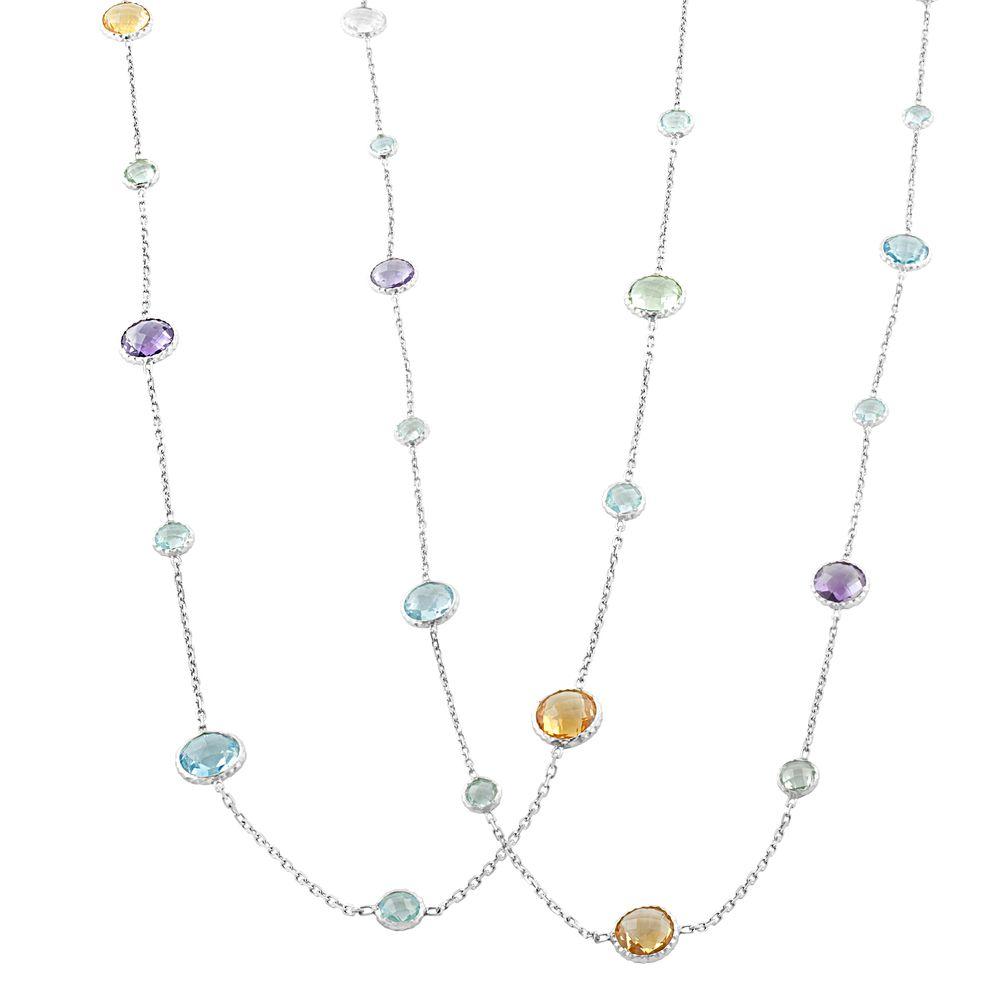Fine Jewelry Genuine Multi-Gemstone Sterling Silver Station Necklace RhzCOk3Vtw