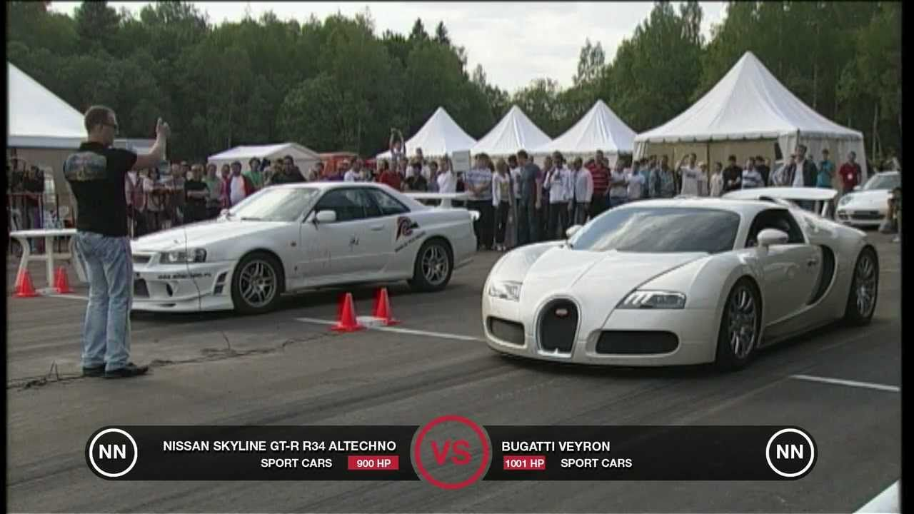 Bugatti Veyron Vs Nissan Skyline GT R R34 Why Spending All That Money May  Not Be Worth It.