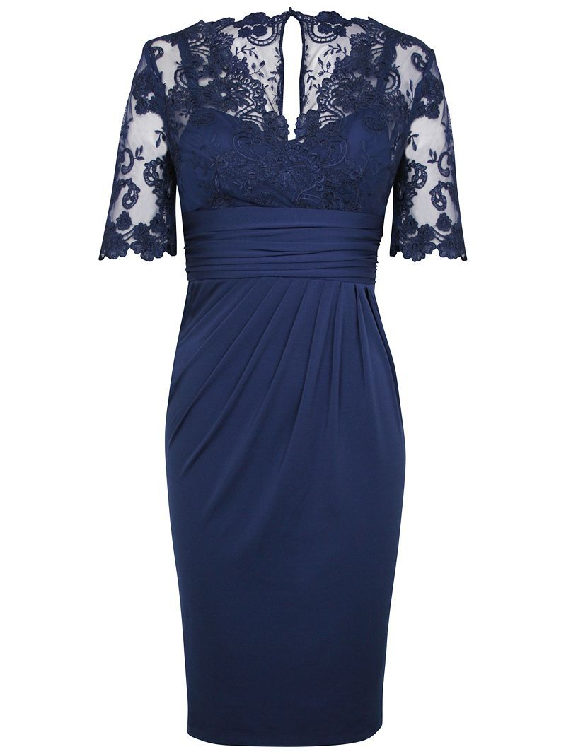 Buy Alexon Lace Top Dress, Blue online at JohnLewis.com - John Lewis ...