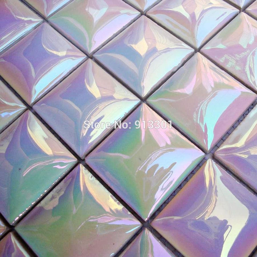 Stained Ceramic Tile Sheets Iridescent Mosaic Patterns Kitchen Tc4803 Backsplash Bathroom Pocelain Floors Wall