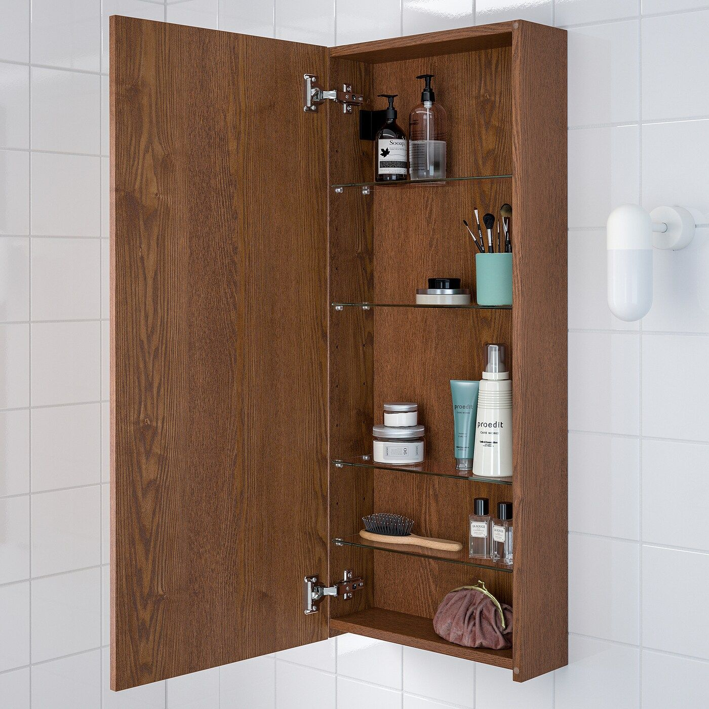 GODMORGON Wall cabinet with 1 door - brown stained ash ...