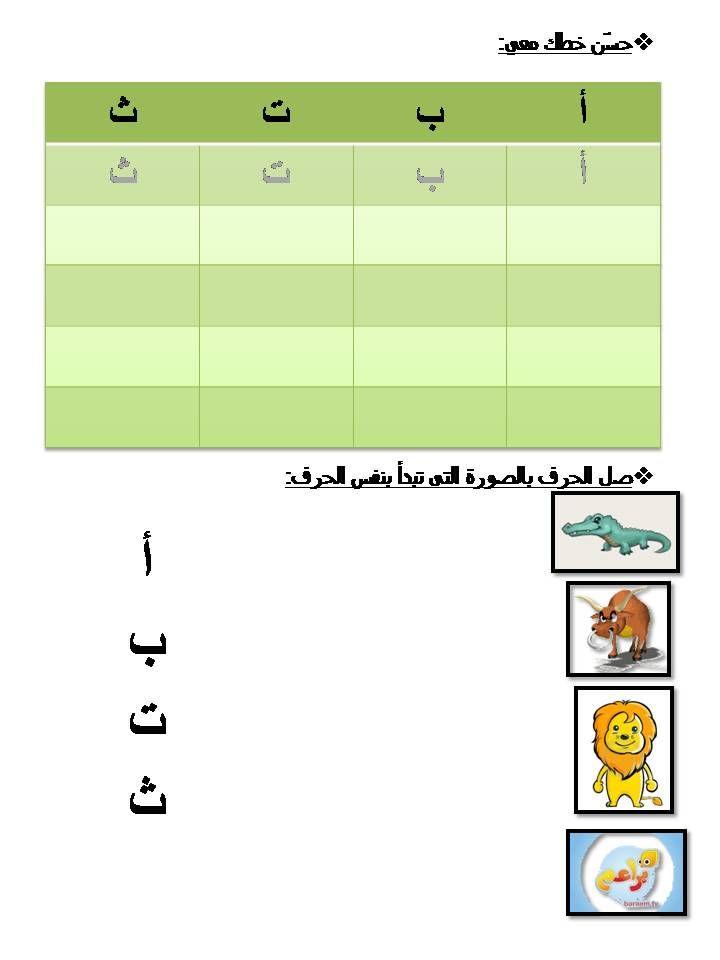 أوراق عمل لطلاب الثانى روضة Learning Arabic Arabic Alphabet Learning