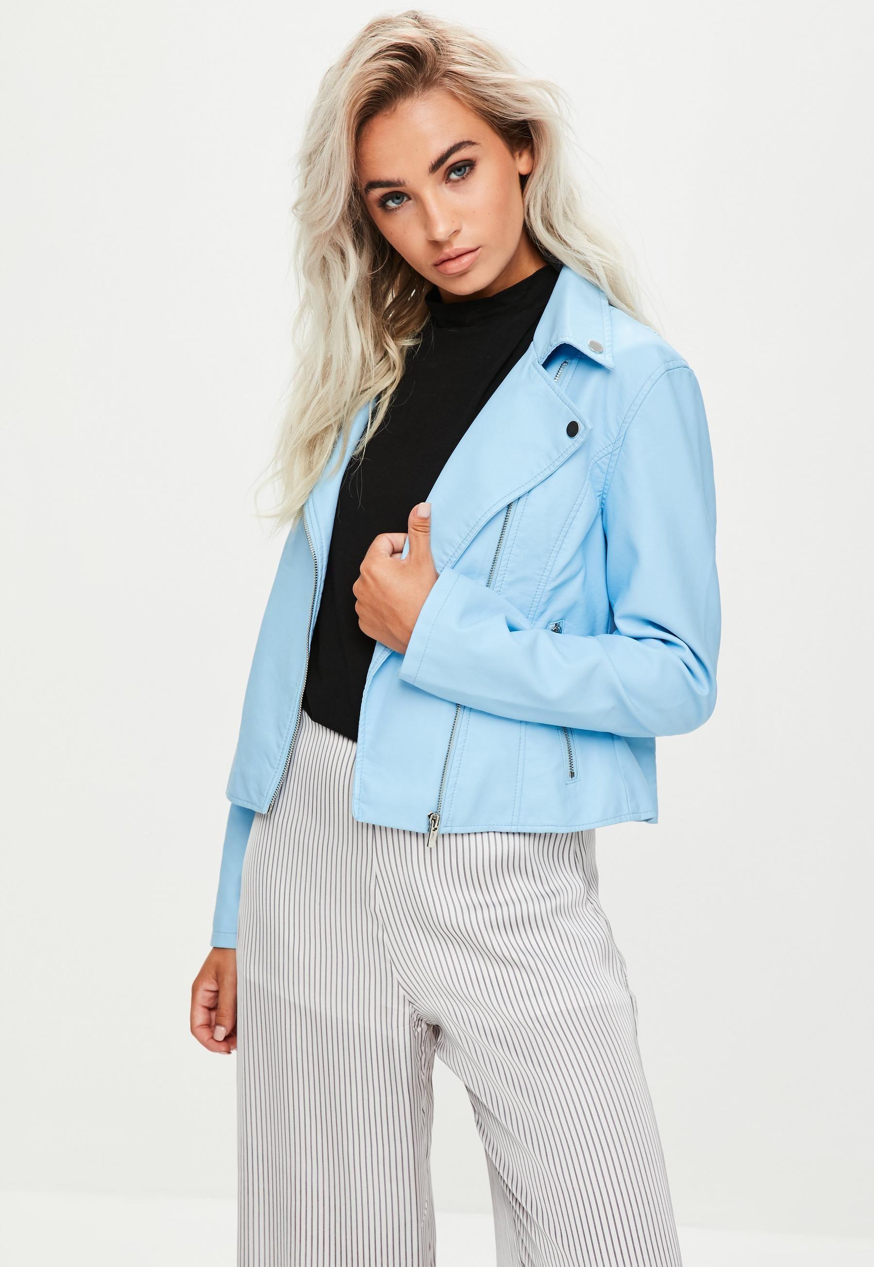 Blue faux leather biker jacket missguided coats