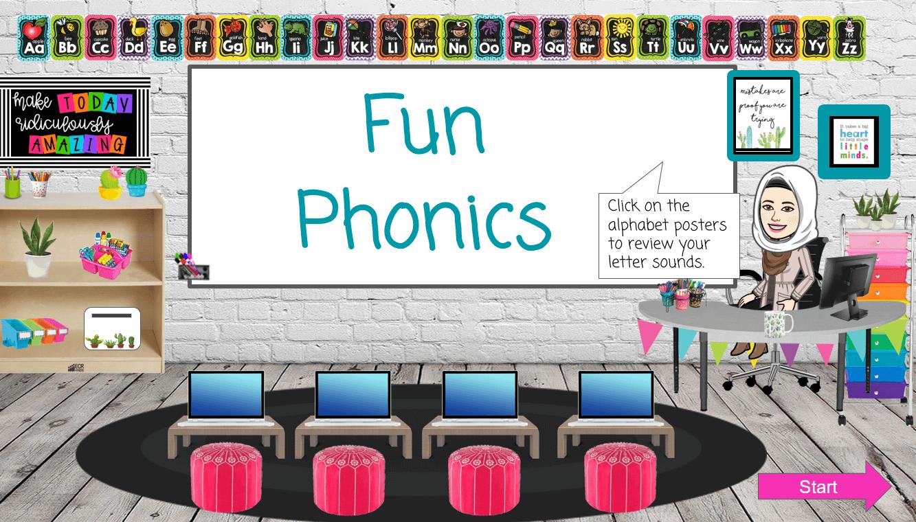 الحروف Fun Phonics الصف الاول مادة اللغة الانجليزية بوربوينت Letter Sounds Phonics Lettering
