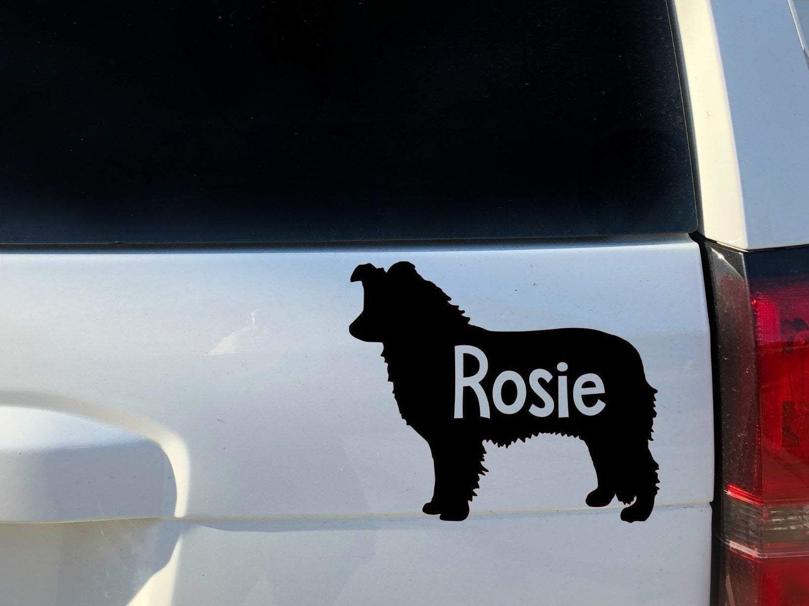 Border Collie Car Decal Black or White Personalized – 5 / Black