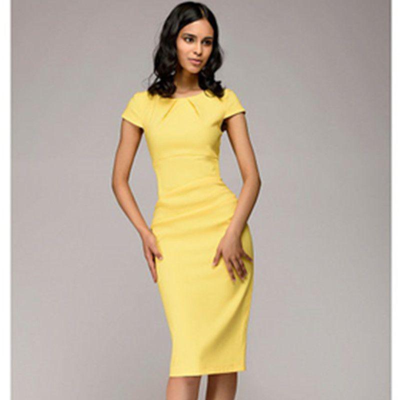 292c707ea00 Pas cher Été 2018 Robe Femmes Solid Slim robe À Manches Courtes Bureau D affaires  Robe Élégante Gaine Parti Robes