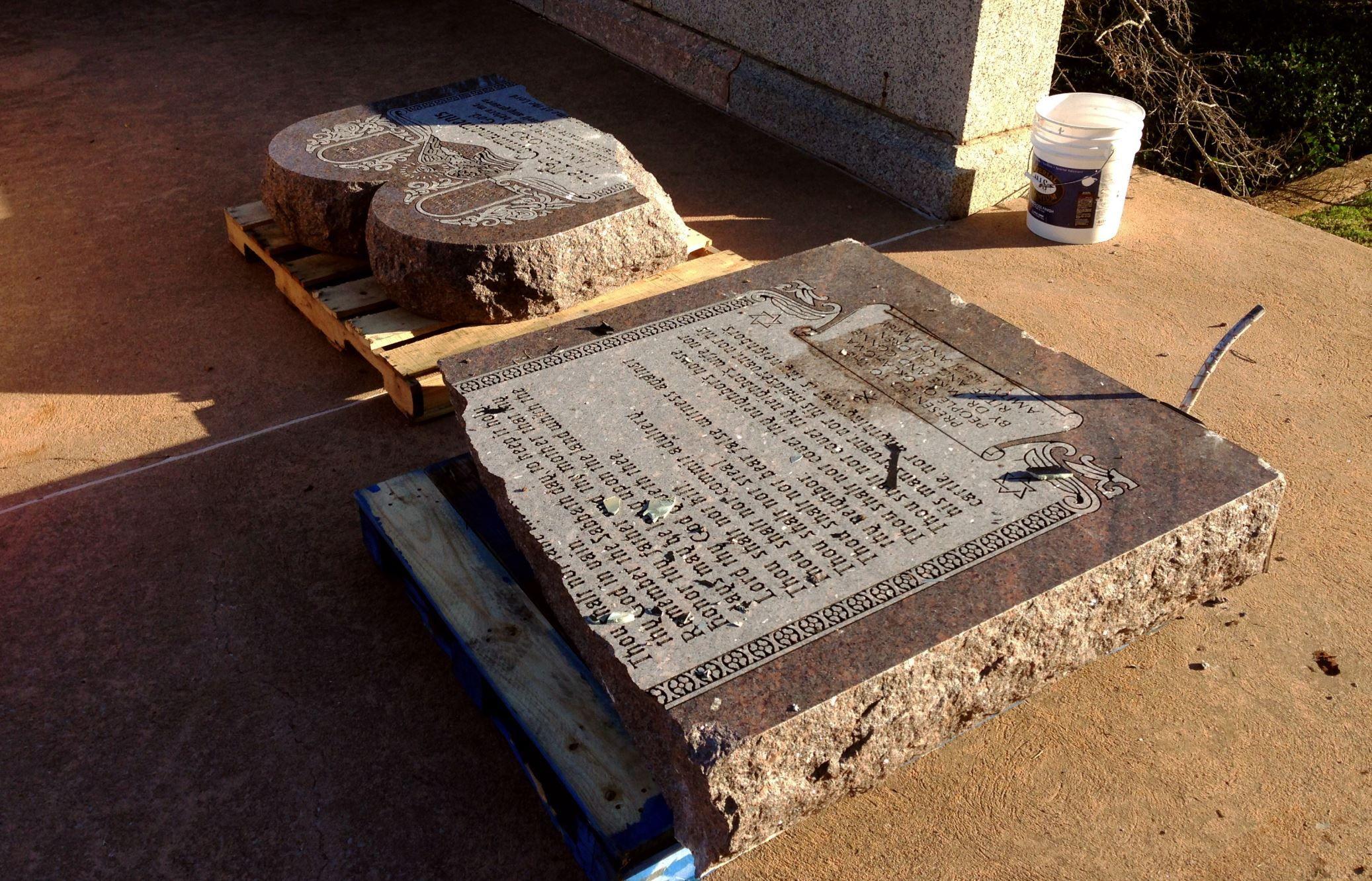 Disputed oklahoma ten commandments statue smashed statue