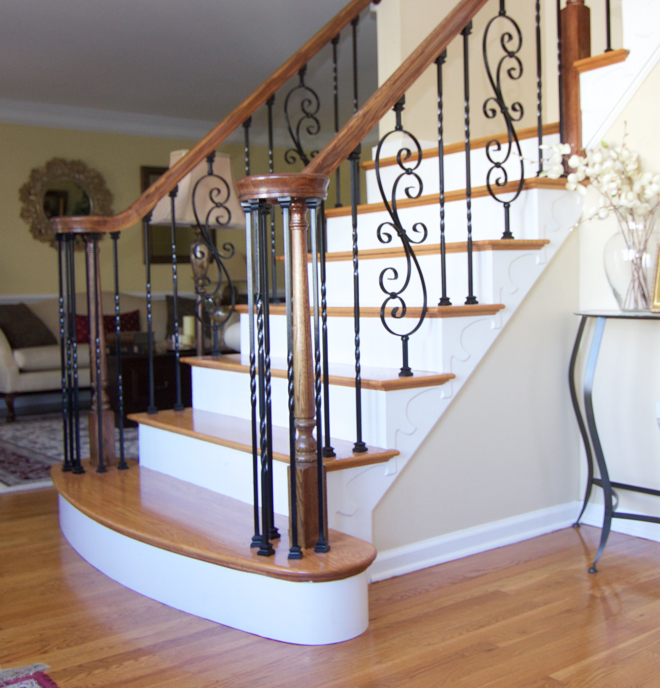 Best Red Oak Stair Treads With Ornamental Railing System Red 400 x 300