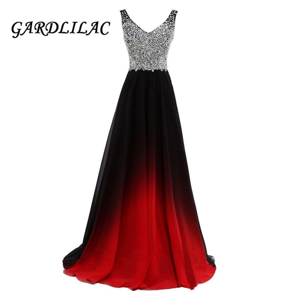 Vneck ombre evening dresses vestido longo beaded prom dress