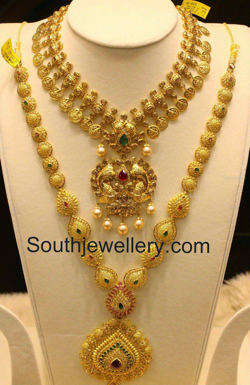 carat gold uncut diamond lakshmi kasu necklace with peacock