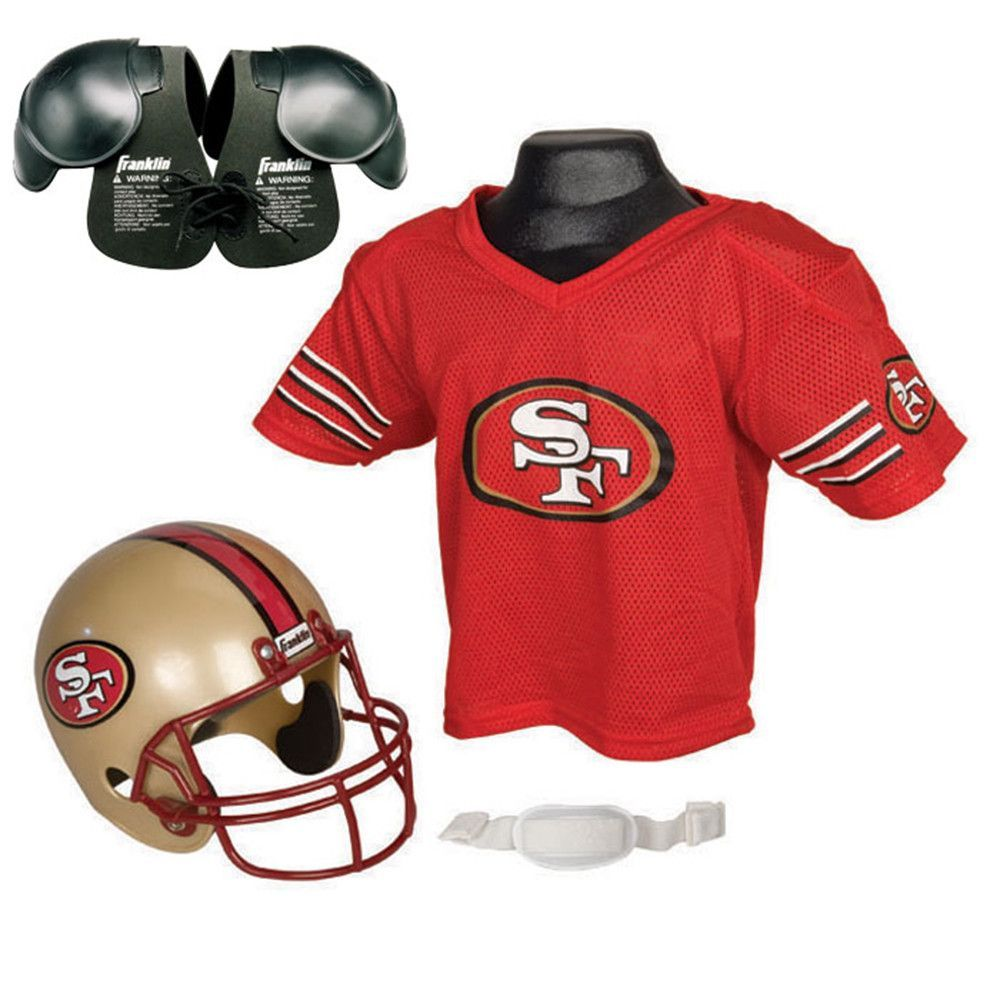 San francisco ers youth nfl helmet and jersey set with shoulder