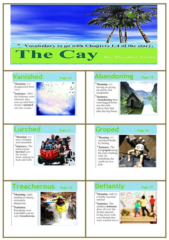 Vocabulary cards for Chapters 14 of The Cay – The Cay Worksheets