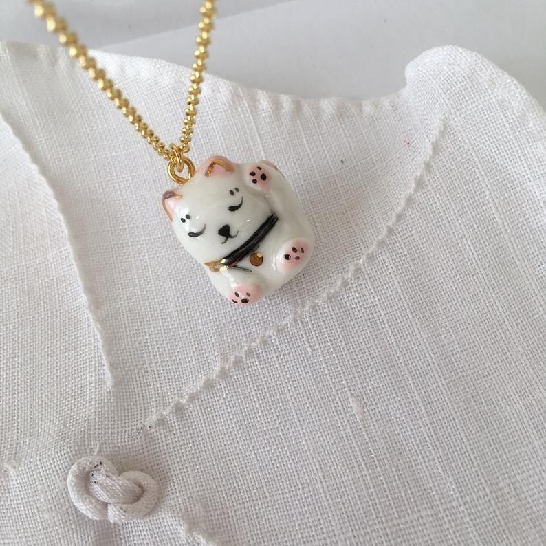 Miniature porcelain maneki neko pendant on vermeil chain image 0