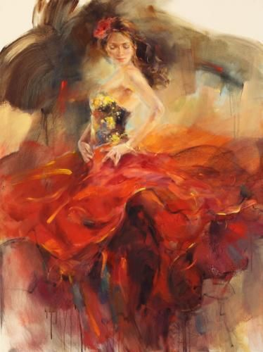 Giro II Limited Edition Giclee by Anna Razumovskaya is part of Dance paintings, Painting, Art painting, Hispanic art, Art, Artwork -  Giro II  by Anna Razumovskaya  Anna is best known for her figurative paintings of elegant dancers, musicians, and romance  Art Leaders Gallery 248 539 0262