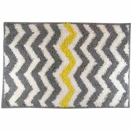 Mainstays Chevron Bath Rug Yellow Walmartcom Home Decor - Beige bath mat for bathroom decorating ideas