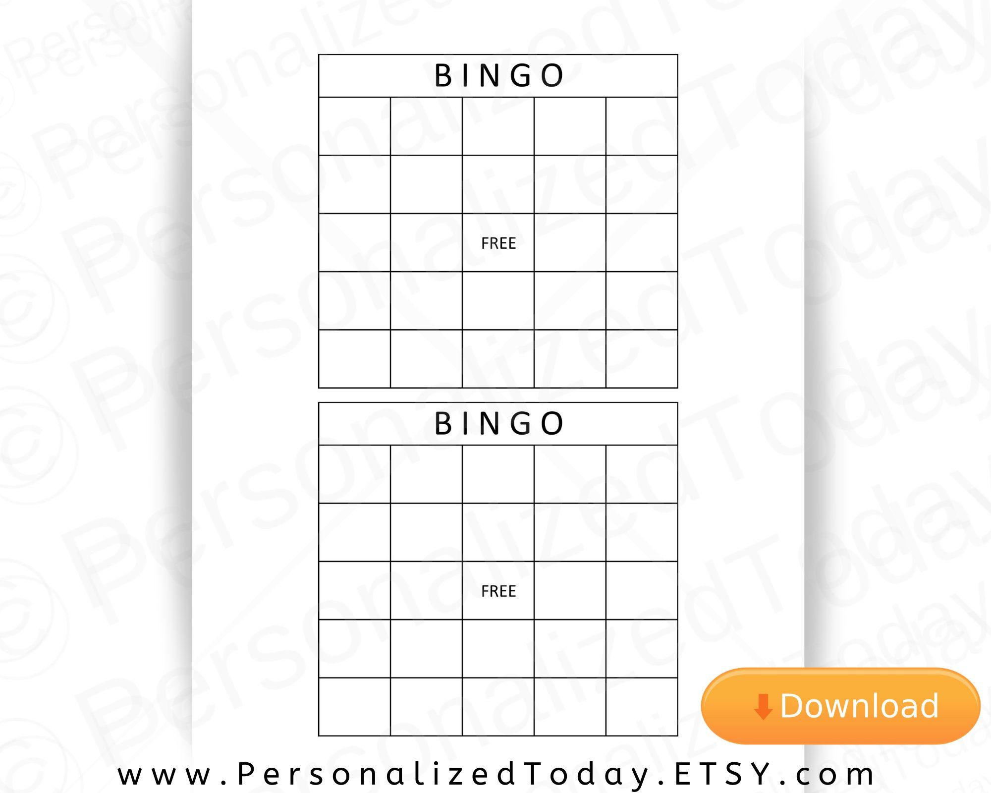 Blank Printable Bingo Board Calling Cards Download For Make Etsy In 2021 Blank Bingo Cards Bingo Cards Printable Templates Bingo Card Template
