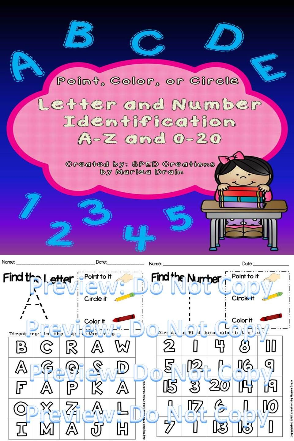 Letter and Number Identification A-Z and 0-20: Point, Color, or ...