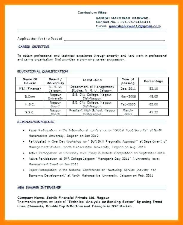 B Pharmacy Resume Format For Freshers ResumeFormat