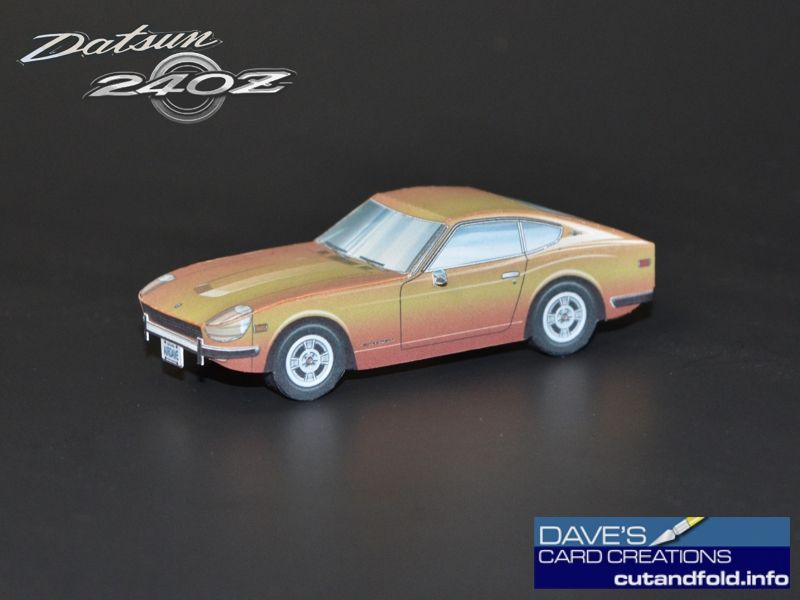 Datsun 240z Paper Model By Dave Winfield Dave S Card Creations Www Cutandfold Info ペーパークラフト