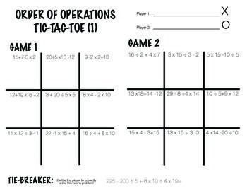 Order of Operations - Tic Tac Toe Partner Activity | Math