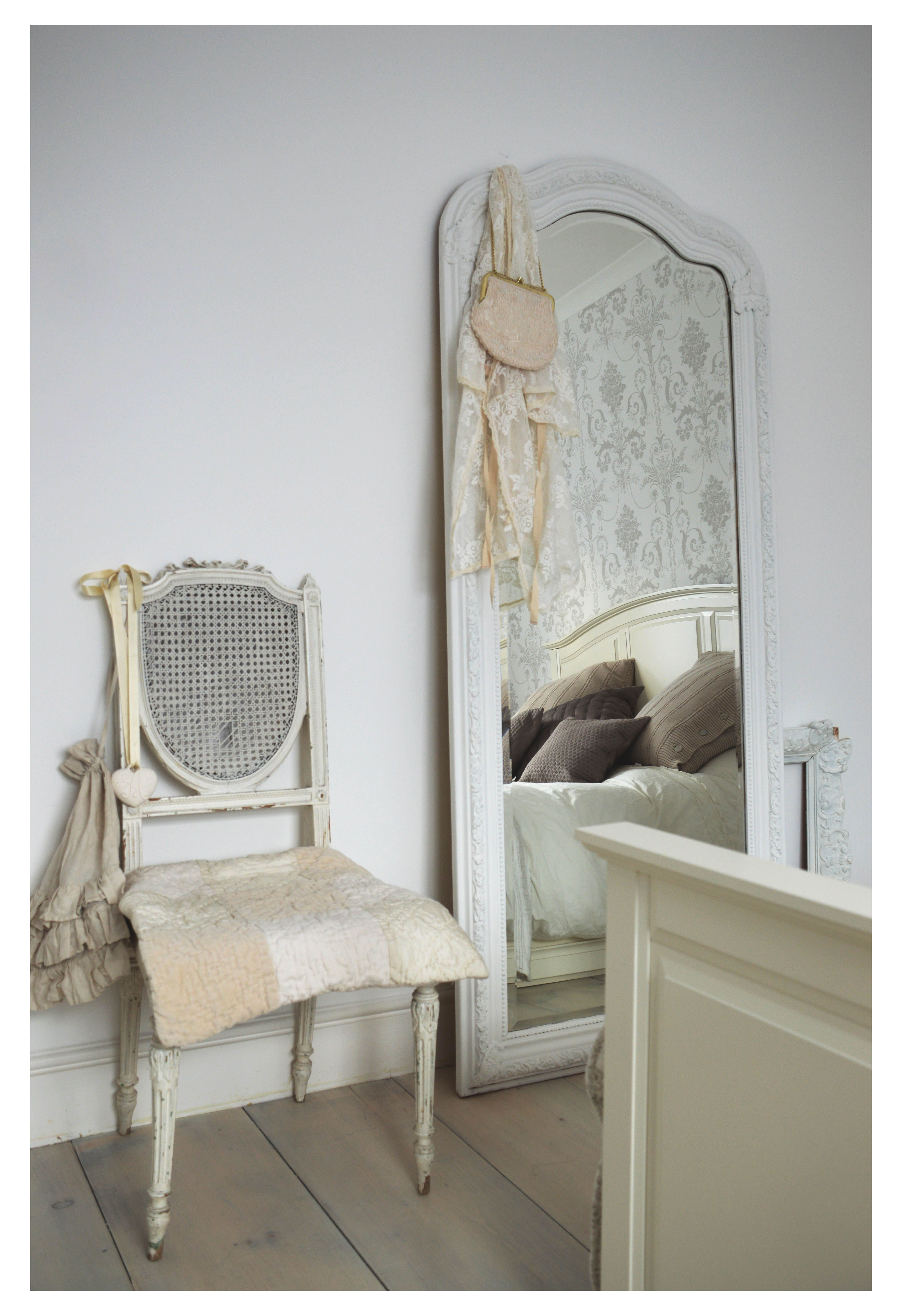 Antique french mirror, antique french chair, white washed ...