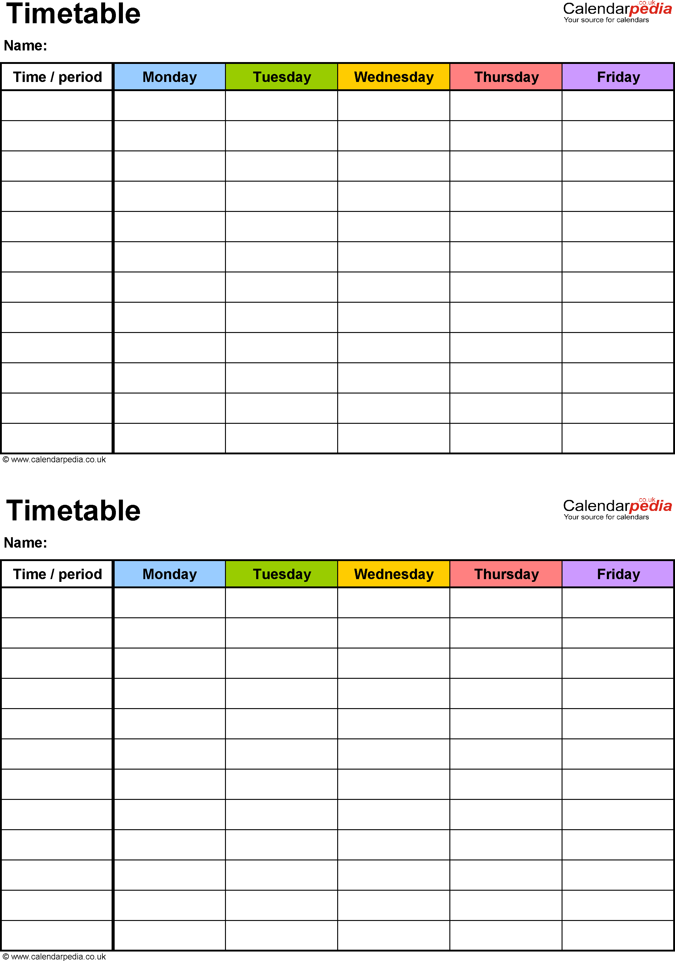 5 day timetable template