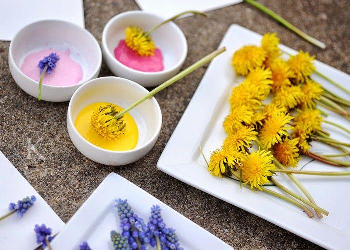 Utilizamos Flores Naturales Para Pintar Trabajos Manualidades
