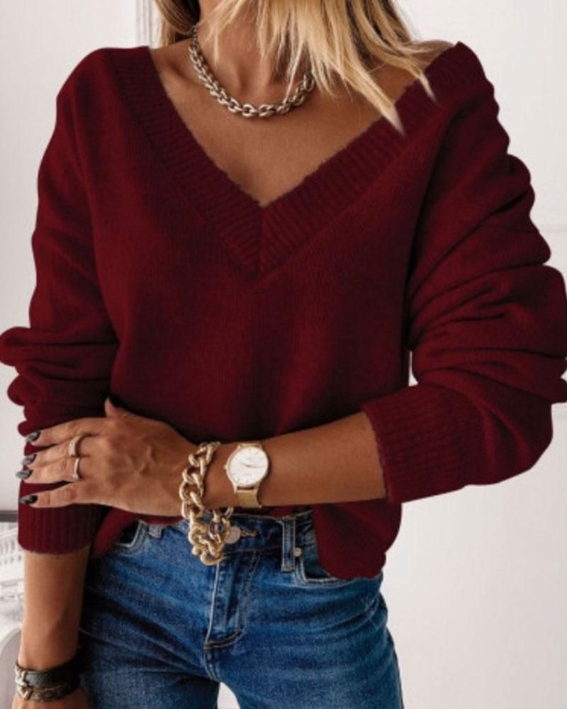 Solid Rib-Knit V Neck Long Sleeve Sweater - Burgundy / M
