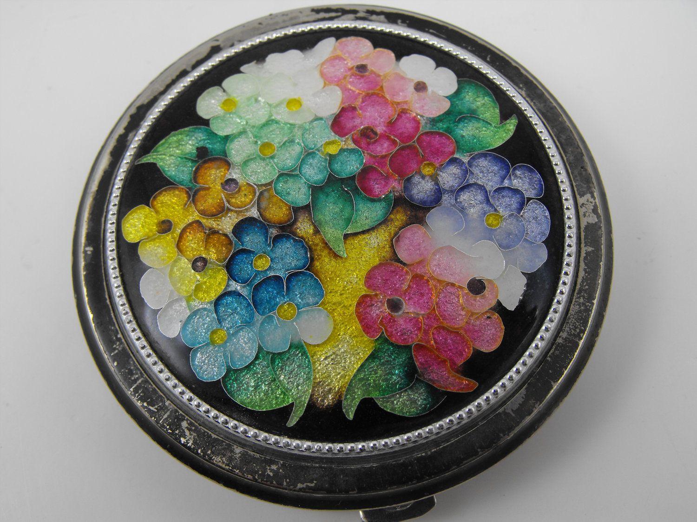 Enamel Floral Compact Cloisonne Powder Vintage Compacts