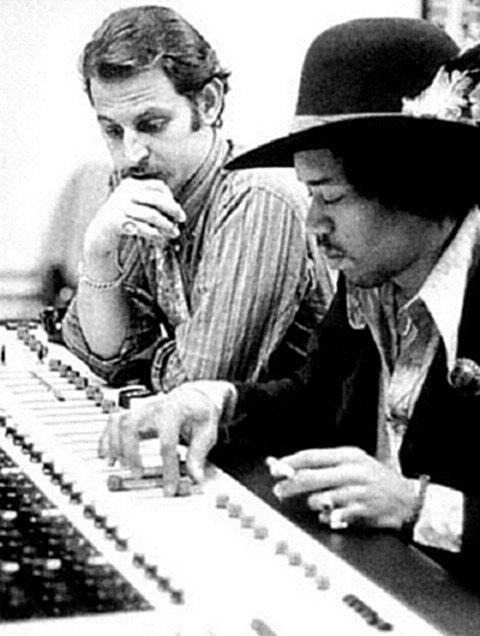 Jimi with Eddie Kramer in the studio