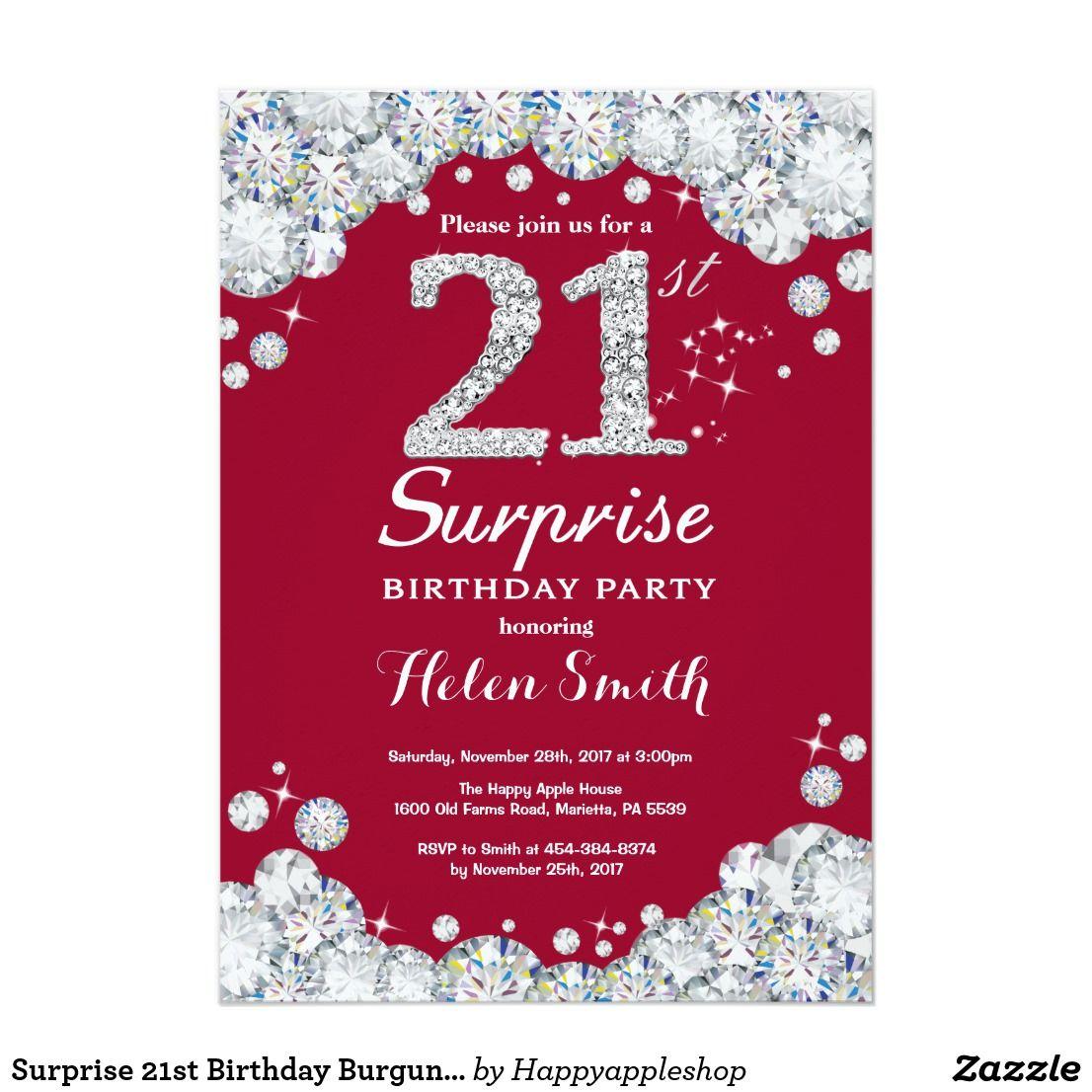 Surprise 21st Birthday Burgundy Red Silver Diamond Invitation ...