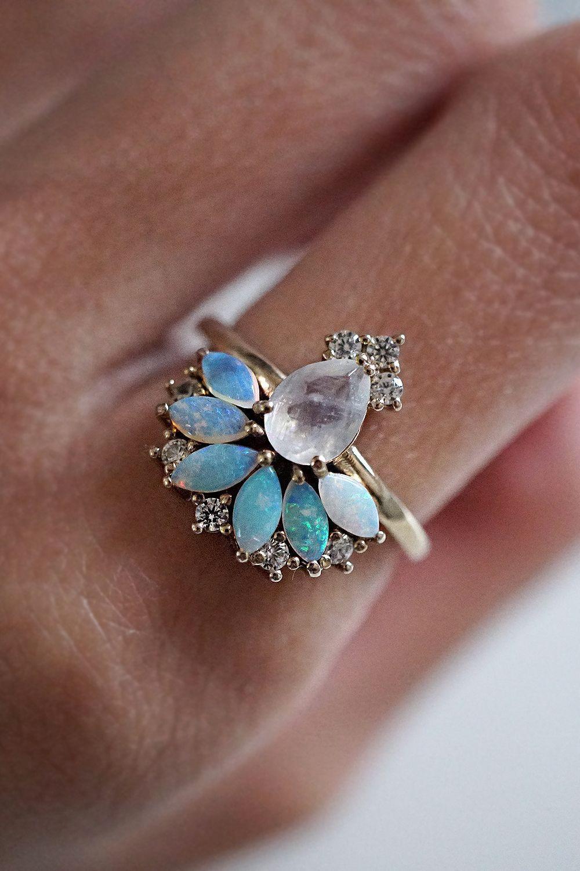 Fairydust Opal Moonstone Diamond Ring Jewelry, Vintage