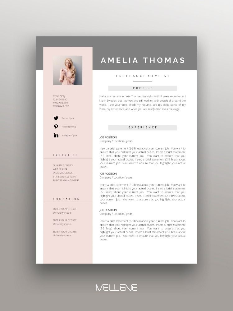 Resume, CV template and Cover letter. Personal branding design, professional application ideas