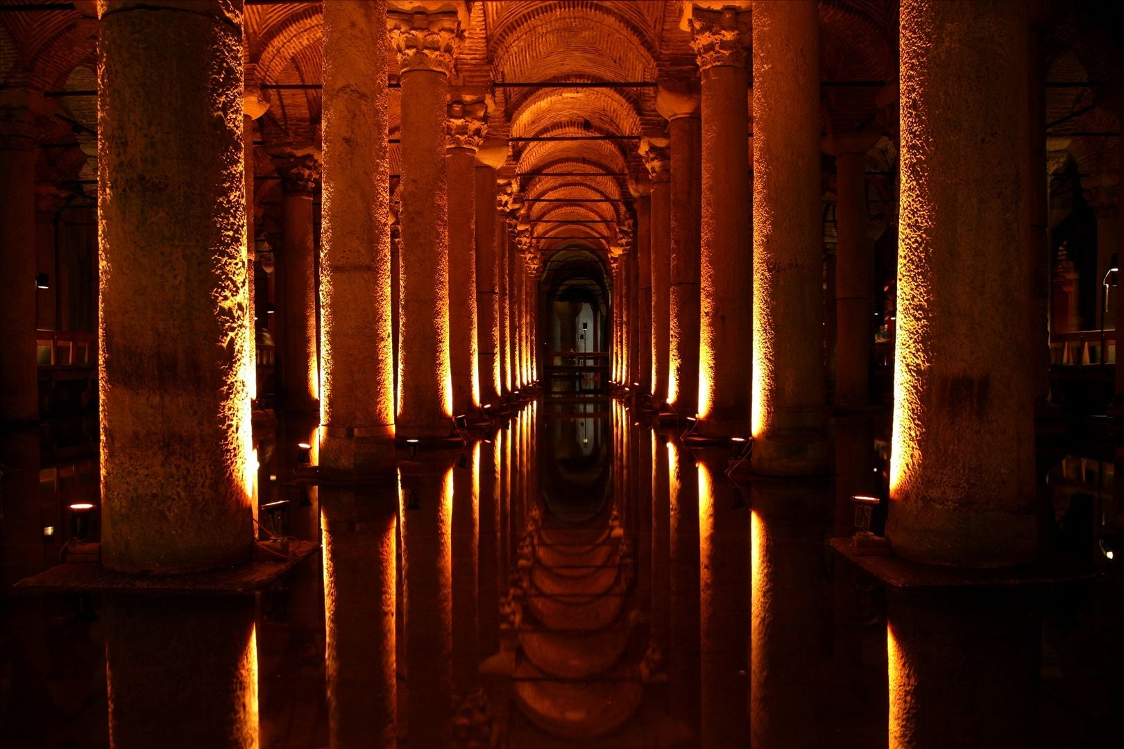 The Basilica Cistern, right next door to the Hagia Sofia and the Blue Mosque. They play semi-creepy atmosphere music; it's a really good place to mull over a plotline!